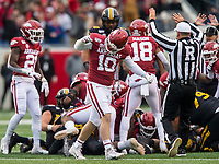 Hawgs Illustrated/BEN GOFF <br /> Bumper Pool, Arkansas linebacker, celebrates after Arkansas stopped Missouri on a 4th an 1 conversion attempt in the first quarter Saturday, Nov. 29, 2019, at War Memorial Stadium in Little Rock.