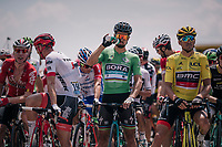 Green Peter Sagan (SVK/Bora-Hansgrohe) & yellow Greg Van Avermaet (BEL/BMC) at the start line; ready to roll<br /> <br /> Stage 10: Annecy > Le Grand-Bornand (159km)<br /> <br /> 105th Tour de France 2018<br /> ©kramon