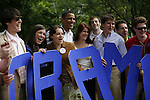 Supporters of Senator Barack Obama, Democratic presidential candidate, at a campaign rally, Concord, New Hampshire, July 2, 2007