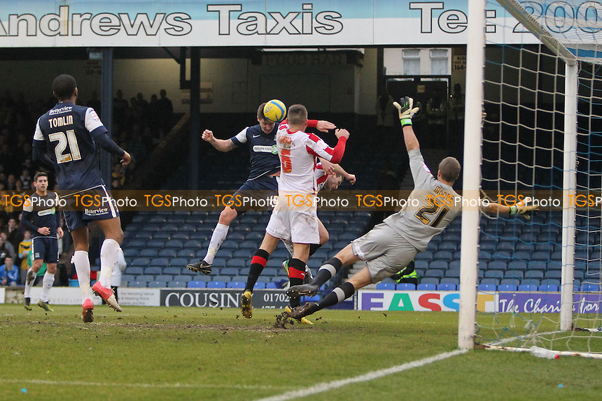Barry Corr of Southend United scores the first goal for his team - Southend United vs Brentford - FA Challenge Cup 3rd Round Football at Roots Hall, Southend-on-Sea, Essex - 05/01/13 - MANDATORY CREDIT: Gavin Ellis/TGSPHOTO - Self billing applies where appropriate - 0845 094 6026 - contact@tgsphoto.co.uk - NO UNPAID USE.