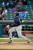 Toledo Mud Hens right fielder Steven Moya (44) bats during a game against the Indianapolis Indians on May 2, 2017 at Victory Field in Indianapolis, Indiana.  Indianapolis defeated Toledo 9-2.  (Mike Janes/Four Seam Images)