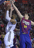 16.06.2013 Barcelona, Spain. Liga Endesa . Playoff game 4 Picture show Darder and Todorovic in action during game between FC Barcelona against Real Madrid at Palau Blaugrana