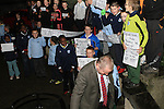 Frank Gallagher as Children protest outside council meeting about lack of changing rooms at Moneymore FC...(Photo credit should read Jenny Matthews www.newsfile.ie)....This Picture has been sent you under the conditions enclosed by:.Newsfile Ltd..The Studio,.Millmount Abbey,.Drogheda,.Co Meath..Ireland..Tel: +353(0)41-9871240.Fax: +353(0)41-9871260.GSM: +353(0)86-2500958.email: pictures@newsfile.ie.www.newsfile.ie.