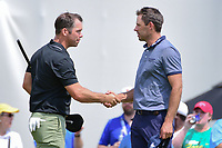 Paul Casey (GBR) and Charl Schwartzel (RSA) shake hands after Casey won their match during round 3 of the World Golf Championships, Dell Technologies Match Play, Austin Country Club, Austin, Texas, USA. 3/24/2017.<br /> Picture: Golffile | Ken Murray<br /> <br /> <br /> All photo usage must carry mandatory copyright credit (&copy; Golffile | Ken Murray)
