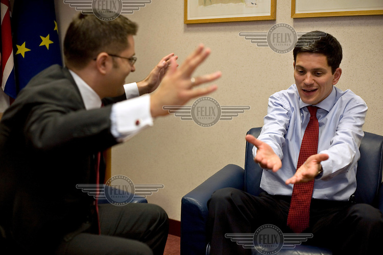 David Miliband, British Secretary of State for Foreign and Commonwealth Affairs, and Member of Parliament for South Shields, Tyne and Wear, during an informal meeting with the Serbian Foreign Minister, Vuk Jeremich.