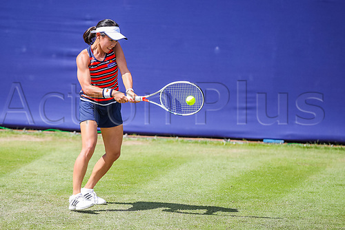 June 18th 2017, Edgbaston Priory Club; Tennis Tournament; Aegon Classic Birmingham; Sunday Qualifiers; Miyu Kato back hand shot against Ipek Soylu