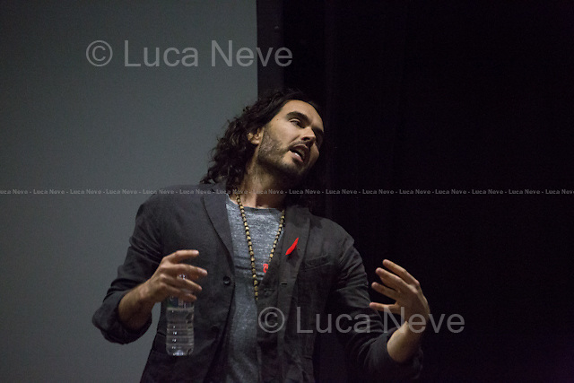 "London, 28/04/2015. Today, OccupyLSE (London School of Economics and Political Studies) - Free University of London presented the film screening of ""The Emperor's New Clothes"" and the Q&A with Russell Brand (Actor and author of the movie with Michael Winterbottom)."