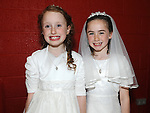 Eleshia Hughes and Amy Fay from St Josephs school who recieved first holy communion at St Josephs Church Mell. Photo: Colin Bell/pressphotos.ie