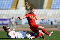 20180228 - LARNACA , CYPRUS :  Belgian Jana Coryn (r) pictured being tackled by Czech Jana Sedlackova (left) during a women's soccer game between The Belgian Red Flames and the Czech Republic , on wednesday 28 February 2018 at GSZ Stadium in Larnaca , Cyprus . This is the first game in group B for Belgium during the Cyprus Womens Cup , a prestigious women soccer tournament as a preparation on the World Cup 2019 qualification duels. PHOTO SPORTPIX.BE | DAVID CATRY
