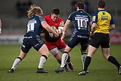 24th March 2018, AJ Bell Stadium, Salford, England; Aviva Premiership rugby, Sale Sharks versus Worcester Warriors; Nick Schonert of Worcester Warriors is tackled by Ross Harrison of Sale Sharks