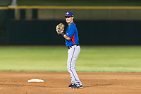 AZL Rangers second baseman Kenen Irizarry (19) prepares to make a throw to first base during an Arizona League game against the AZL Giants Black at Scottsdale Stadium on August 4, 2018 in Scottsdale, Arizona. The AZL Giants Black defeated the AZL Rangers by a score of 6-3 in the second game of a doubleheader. (Zachary Lucy/Four Seam Images)