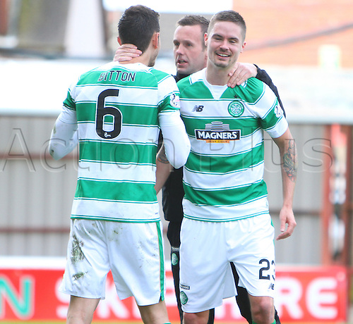 09.04.2016. Fir Park, Motherwell, Scotland. Scottish Football Premiership Motherwell versus Celtic. Ronny Deila celebrates with Scott Brown and Mikael Lustig