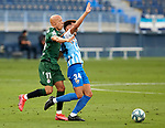 Luis Munoz (Malaga CF) and Víctor Mollejo (RC Deportivo de la Coruna) competes for the ball during La Liga Smartbank match round 39 between Malaga CF and RC Deportivo de la Coruna at La Rosaleda Stadium in Malaga, Spain, as the season resumed following a three-month absence due to the novel coronavirus COVID-19 pandemic. Jul 03, 2020. (ALTERPHOTOS/Manu R.B.)