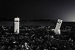 Stone gateposts mark the entrance to a building destroyed by  the March 11 disasters near the seafront in Osawa, Iwate Prefecture, Japan.  Photographer: Robert Gilhooly