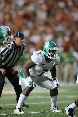 DENTON, TX - AUGUST 30 :  - North Texas Mean Green Football vs University of Texas at the Darrell K Royal Texas Memorial Stadium in Denton on August 30, 2014 in Denton, Texas.  (Photo by Rick Yeatts)