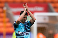 Joe Jacobson of Wycombe Wanderers during the Sky Bet League 2 match between Blackpool and Wycombe Wanderers at Bloomfield Road, Blackpool, England on 20 August 2016. Photo by James Williamson / PRiME Media Images.