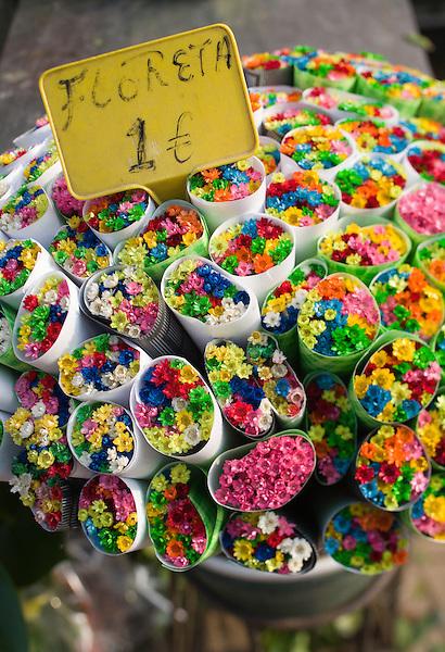 Flowers for sale along La Rambla in Barcelona, Spain. Photo by Kevin J. Miyazaki/Redux