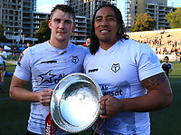 TORONTO, ON - SEPTEMBER 09:  Jonny Pownall #2 and Fuifui Moimoi #8 of Toronto Wolfpack celebrate with the Championship 1 Promotion Trophy after victory over Barrow Raiders following a Kingstone Press League 1 Super 8s match at Lamport Stadium on September 9, 2017 in Toronto, Canada.  (Photo by Vaughn Ridley/SWpix.com)