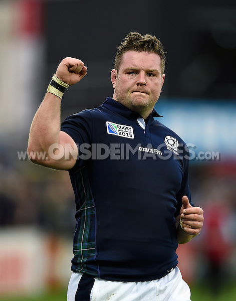 Jon Welsh of Scotland celebrates with the crowd after the match. Rugby World Cup Pool B match between Scotland and Japan on September 23, 2015 at Kingsholm Stadium in Gloucester, England. Photo by: Patrick Khachfe / Onside Images