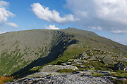 Mount Washington from Mount Clay in Thompson and Meserve's Purchase, New Hampshire. The Appalachian Trail crosses over the summit of Mount Washington. The skyline rail siding on the Cog Railroad is in view.