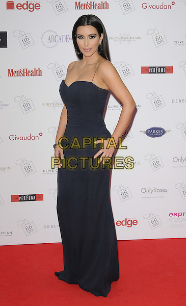 Kim Kardashian.The FiFi UK Fragrance Awards 2012 at The Brewery, Chiswell Street, London, England..May 17th 2012.full length blue black dress maxi.CAP/CAN.©Can Nguyen/Capital Pictures.