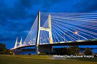 65095-02820 Bill Emerson Memorial Bridge at dusk-night over Mississippi River Cape Girardeau  MO