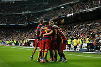 Barcelona´s players celebrate Neymar Jr´s goal during 2015-16 La Liga match between Real Madrid and Barcelona at Santiago Bernabeu stadium in Madrid, Spain. November 21, 2015. (ALTERPHOTOS/Victor Blanco) /NortePhoto