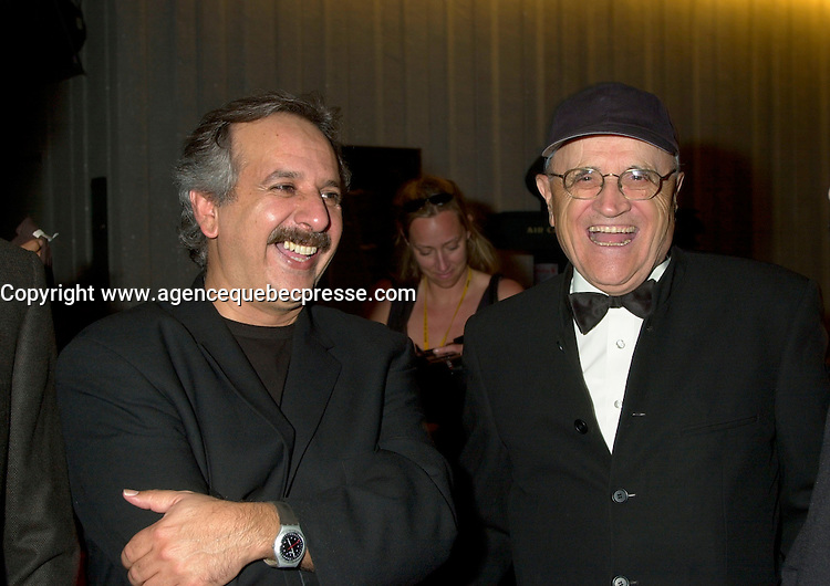 Sept 2, 2002, Montreal, Quebec, Canada<br /> <br /> Majid Majidi, President of the Jury (L) and<br /> Serge Losique, President of the Festiva (R)<br /> ,at the closing ceremony of the 2002 Montreal World Films Festival, Sept 2 2002, in  Montreal, Quebec, Canada<br /> <br /> Mandatory Credit: Photo by Pierre Roussel- Images Distribution. (&copy;) Copyright 2002 by Pierre Roussel <br /> <br /> NOTE : <br />  Nikon D-1 jpeg opened with Qimage icc profile, saved in Adobe 1998 RGB
