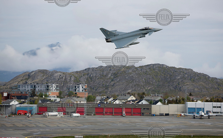 German Eurofighter takes off from Bodø airport in Norway. The military Arctic Challenge Exercise 2015 (ACE 15) is a large crossborder exercise, with flying in Norway, Sweden and Finland. Airforce aircraft from these countries as well as NATO aircraft from Germany and Great Britain train together in a vast airspace.<br /> (photo: Fredrik Naumann/Felix Features)