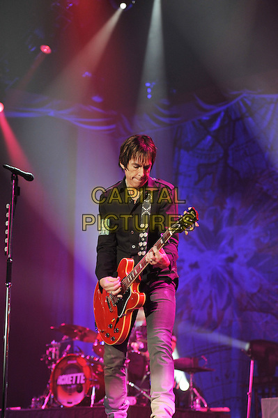 Per Gessle.Roxette performing live in concert at Wembley Arena, London, England..15th November 2011.on stage gig performance music full length black guitar singing shirt jeans denim 3/4.CAP/MAR.© Martin Harris/Capital Pictures.