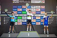 Picture by Alex Whitehead/SWpix.com - 28/09/2018 - Cycling - UCI 2018 Road World Championships - Innsbruck-Tirol, Austria - U23 Men's Road Race - Bjorg Lambrecht of Belgium (Silver), Marc Hirschi of Switzerland (Gold) and Jaakko Hanninen of Finland (Bronze).