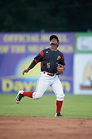Batavia Muckdogs second baseman Samuel Castro (5) calls for a shallow fly ball during a game against the West Virginia Black Bears on June 26, 2017 at Dwyer Stadium in Batavia, New York.  Batavia defeated West Virginia 1-0 in ten innings.  (Mike Janes/Four Seam Images)