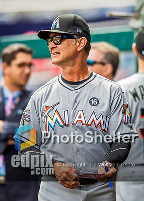 3 April 2017: Miami Marlins Manager Don Mattingly awaits the start of play against the Washington Nationals on Opening Day at Nationals Park in Washington, DC. The Nationals defeated the Marlins 4-2 to open the 2017 MLB Season. Mandatory Credit: Ed Wolfstein Photo *** RAW (NEF) Image File Available ***