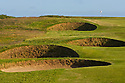 Bunkers line the left hand side of the 1st fairway at Royal Porthcawl Golf Club, Porthcawl, Mid Glamorgan, Wales. Picture Credit / Phil INGLIS