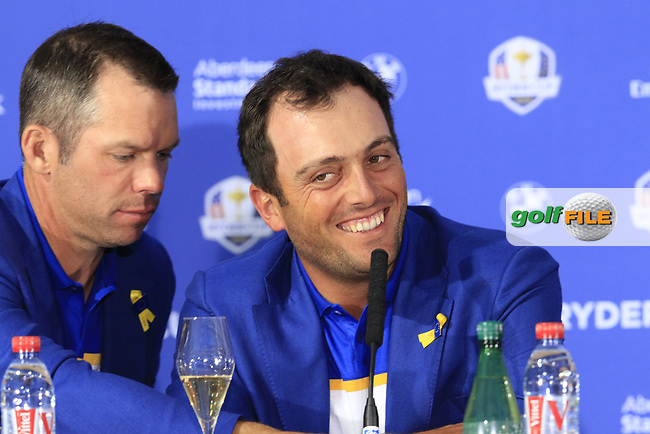 Paul Casey and Francesco Molinari (Team Europe) at the press conference after Europe win the Ryder Cup 17.5 to 10.5 at the end of Sunday's Singles Matches at the 2018 Ryder Cup 2018, Le Golf National, Ile-de-France, France. 30/09/2018.<br /> Picture Eoin Clarke / Golffile.ie<br /> <br /> All photo usage must carry mandatory copyright credit (© Golffile | Eoin Clarke)