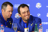 Paul Casey and Francesco Molinari (Team Europe) at the press conference after Europe win the Ryder Cup 17.5 to 10.5 at the end of Sunday's Singles Matches at the 2018 Ryder Cup 2018, Le Golf National, Ile-de-France, France. 30/09/2018.<br /> Picture Eoin Clarke / Golffile.ie<br /> <br /> All photo usage must carry mandatory copyright credit (&copy; Golffile | Eoin Clarke)