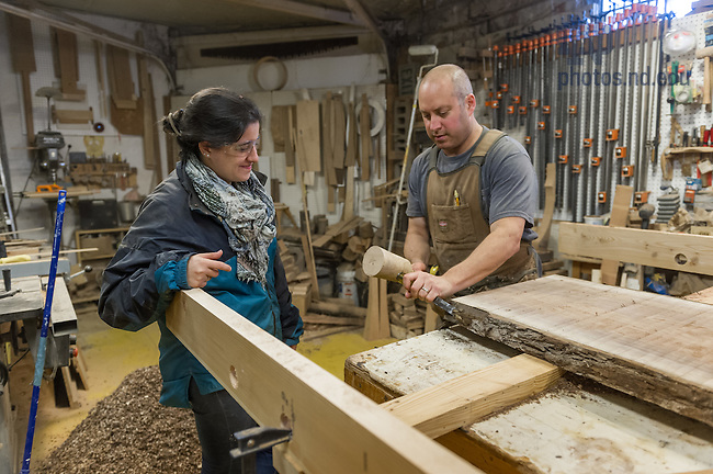 October 20, 2016; YLAI fellow, Alejandra Del Carmen, works with Larry Piser of Piser Design in his woodworking shop in South Bend. (Photo by Barbara Johnston/University of Notre Dame)
