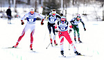 FRANCONIA, NH - MARCH 11:   Martin Bergstroem of the University of Utah is ahead of the lead group in the final meters and goes on to win the Men's 20K Freestyle event at the Division I Men's and Women's Skiing Championships held at Jackson Ski Touring on March 11, 2017 in Jackson, New Hampshire. (Photo by Gil Talbot/NCAA Photos via Getty Images)