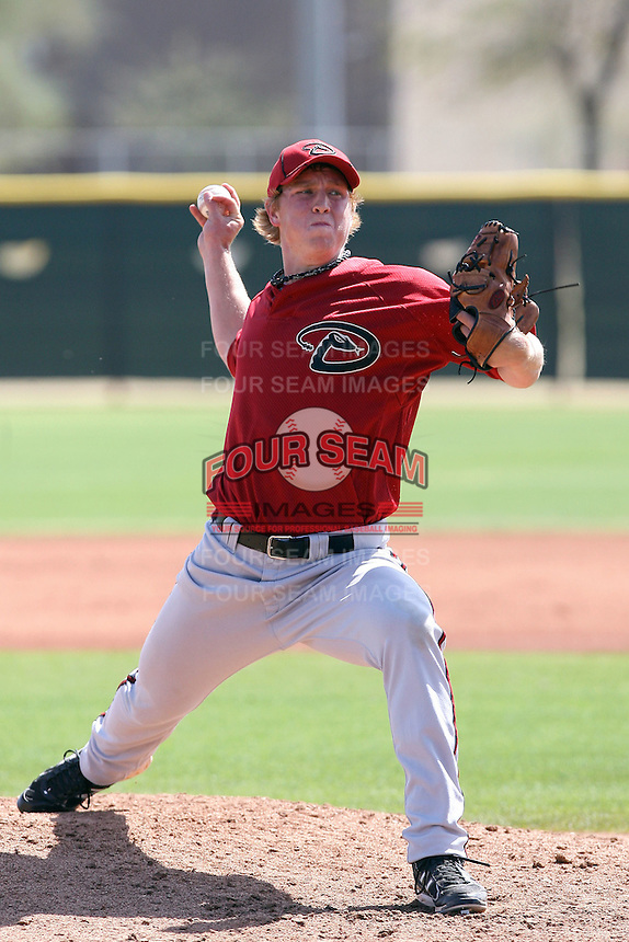 Jeff Shields #33 of the Arizona Diamondbacks plays in a minor league spring training game against the Los Angeles Angels at the Angels minor league complex on March 17, 2011  in Tempe, Arizona. .Photo by:  Bill Mitchell/Four Seam Images.