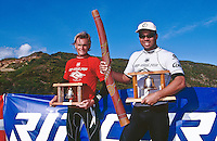 Sunny Garcia (HAW) winner of the 1996 Rip Curl Pro at Johanna Beach, Victoria, Australia.  The contest went mobile when conditions at Bells Beach were not suitable. Todd Prestage (AUS) was runnner up to Garcia who was the defending champion. Photo: joliphotos.com