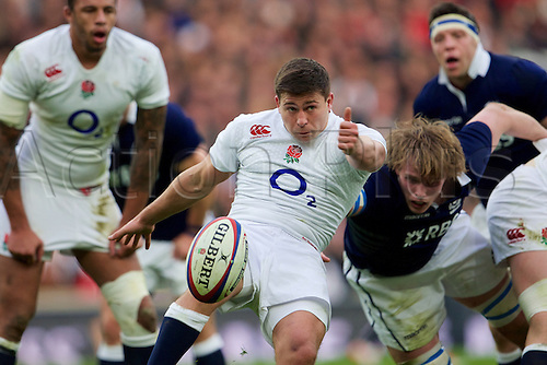 14.03.2015.  Twickenham, England. 6 Nations International Rubgy Championship. England versus Scotland. England scrum-half Ben Youngs clears the ball with a kick.