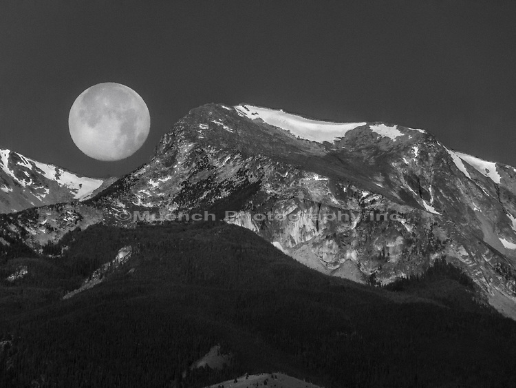 Full moon over Hollowtop Peak in the Tobacco Root Mountains.