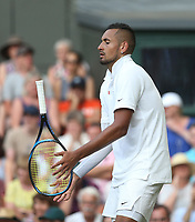 Nick Kyrgios (AUS) during his match against Rafael Nadal (ESP) in their Gentleman's Singles Second Round match<br /> <br /> <br /> Photographer Rob Newell/CameraSport<br /> <br /> Wimbledon Lawn Tennis Championships - Day 4 - Thursday 4th July 2019 -  All England Lawn Tennis and Croquet Club - Wimbledon - London - England<br /> <br /> World Copyright © 2019 CameraSport. All rights reserved. 43 Linden Ave. Countesthorpe. Leicester. England. LE8 5PG - Tel: +44 (0) 116 277 4147 - admin@camerasport.com - www.camerasport.com