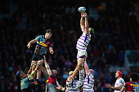 Graham Kitchener of Leicester Tigers wins the ball at a lineout. Gallagher Premiership match, between Harlequins and Leicester Tigers on May 3, 2019 at the Twickenham Stoop in London, England. Photo by: Patrick Khachfe / JMP