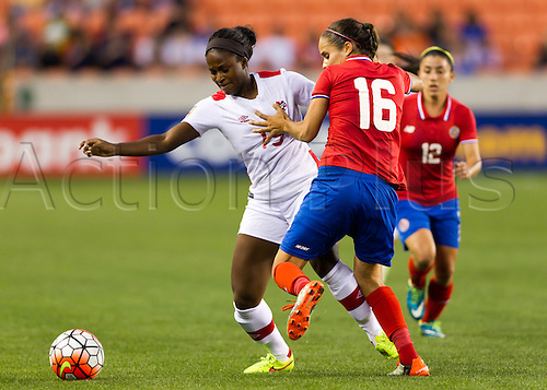 19.02.2016. Houston, TX, USA.  Canada Forward Nichelle Prince (15)  and Costa Rica Midfielder Katherine Alvarado (16) during the Women's Olympic semi-final qualifying game between Canada and Costa Rica at BBVA Compass Stadium in Houston, Texas.