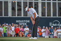 Ian Poulter (GBR) watches his putt on 18 during round 4 of the Houston Open, Golf Club of Houston, Houston, Texas. 4/1/2018.<br /> Picture: Golffile | Ken Murray<br /> <br /> <br /> All photo usage must carry mandatory copyright credit (&copy; Golffile | Ken Murray)