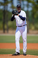 Detroit Tigers pitcher Brad Bass (39) during a Minor League Spring Training game against the Atlanta Braves on March 22, 2018 at the TigerTown Complex in Lakeland, Florida.  (Mike Janes/Four Seam Images)