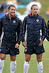 Amy LePeilbet (l) and Aly Wagner (r), of the United States, on Sunday June 26th, 2005, during an international friendly soccer match at Virginia Beach Sportsplex in Virginia Beach, Virginia. The United States won the game 2-0.