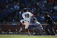 SAN FRANCISCO, CA - SEPTEMBER 28:  Mauricio Dubon #19 of the San Francisco Giants bats against the Los Angeles Dodgers during the game at Oracle Park on Saturday, September 28, 2019 in San Francisco, California. (Photo by Brad Mangin)
