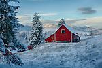 Washington, Eastern, Chewelah. A red barn in a wintery landscape.